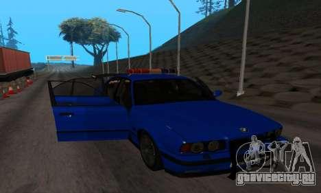 BMW M5 POLICE для GTA San Andreas вид изнутри