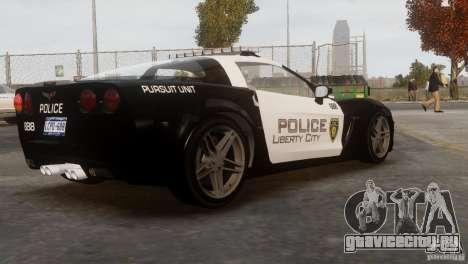 Chevrolet Corvette LCPD Pursuit Unit для GTA 4 вид изнутри
