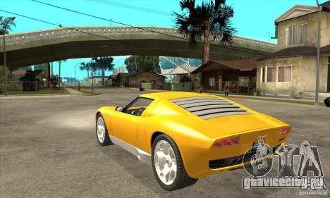 Lamborghini Miura Concept 2006 для GTA San Andreas вид сзади слева