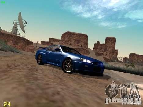 Nissan Skyline GT-R R34 V-Spec для GTA San Andreas вид сзади слева