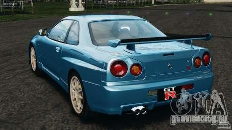 Nissan Skyline GT-R R34 2002 v1.0 для GTA 4 вид сзади слева