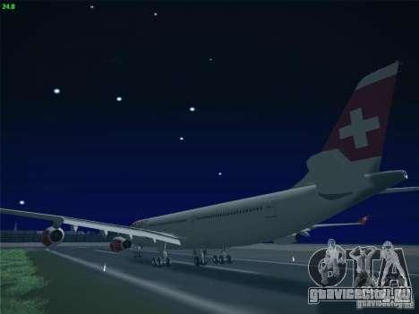 Airbus A340-300 Swiss International Airlines для GTA San Andreas вид изнутри