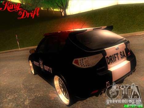 Subaru Impreza WRX Police для GTA San Andreas вид сбоку