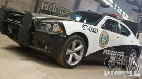Dodge Charger Policia Civil from Fast Five для GTA San Andreas вид сзади