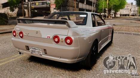 Nissan Skyline GT-R (BNR32) для GTA 4 вид сзади слева