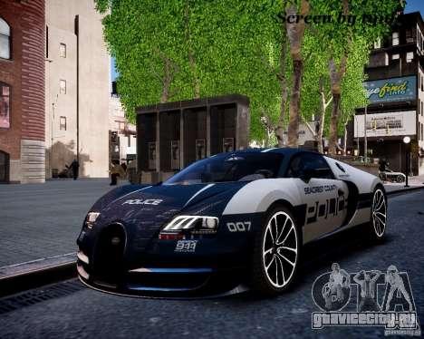 Bugatti Veryon SS COP для GTA 4 вид изнутри