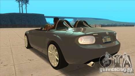 Mazda MX5 Miata Superlight 2009 V1.0 для GTA San Andreas вид сзади слева