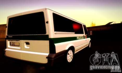 Ford Transit Policija для GTA San Andreas вид изнутри