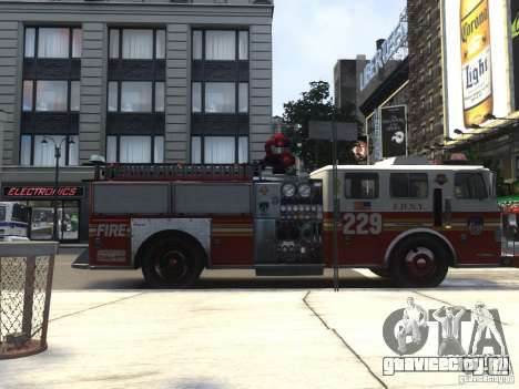 Fire Truck FDNY для GTA 4 вид сзади слева
