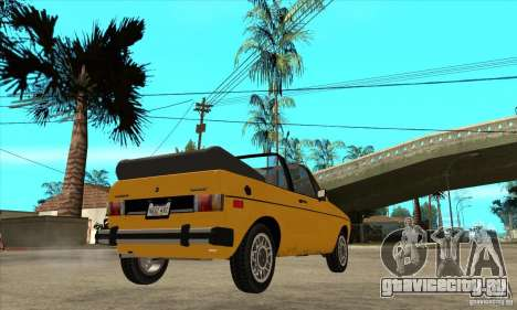 Volkswagen Rabbit Convertible для GTA San Andreas вид справа