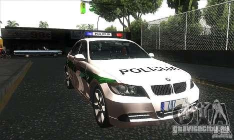 BMW 330 E90 Policija для GTA San Andreas вид сзади