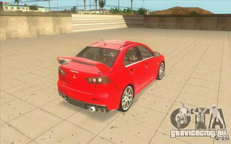 Mitsubishi Lancer Evolution X MR1 для GTA San Andreas вид сзади слева