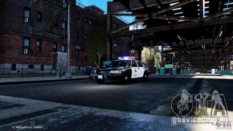 CVPI LCPD San Diego Police Department для GTA 4 вид изнутри