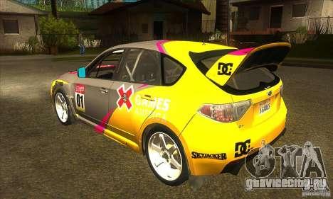 Subaru Impreza WRX STi X GAMES America из DIRT 2 для GTA San Andreas вид сзади слева
