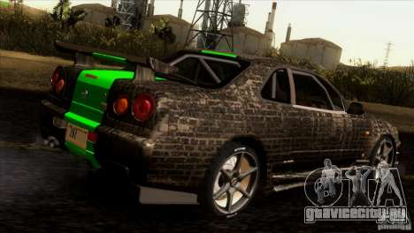Nissan Skyline R34 Drift для GTA San Andreas вид снизу