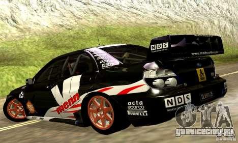 Subaru Impreza WRC 2007 для GTA San Andreas вид сбоку