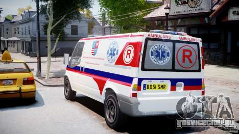 Ford Transit Polish Ambulance [ELS] для GTA 4 вид сзади слева