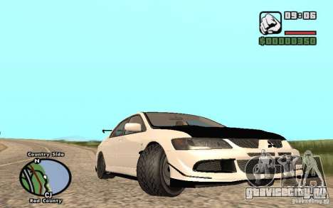 Mitsubishi Lancer Evolution 8 Carbon для GTA San Andreas вид сзади слева