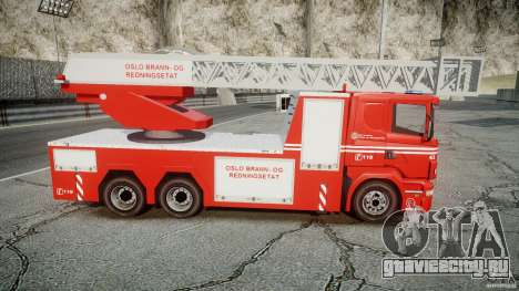 Scania Fire Ladder v1.1 Emerglights blue-red ELS для GTA 4 вид сбоку