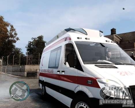 Mercedes Sprinter Turkish Ambulance для GTA 4 вид слева