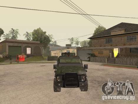 Oshkosh SandCat of Mexican Army для GTA San Andreas вид изнутри
