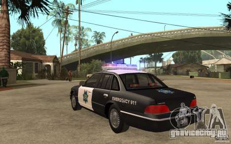Ford Crown Victoria SFPD 1992 для GTA San Andreas вид сзади слева