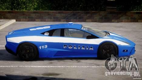 Lamborghini Reventon Polizia Italiana для GTA 4 вид сзади слева