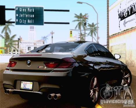 BMW M6 2013 для GTA San Andreas вид сзади слева