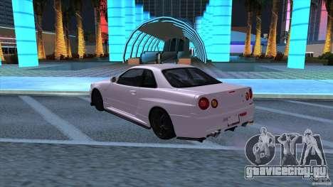 Nissan Skyline GTR-34 M-spec Nur для GTA San Andreas вид сзади слева