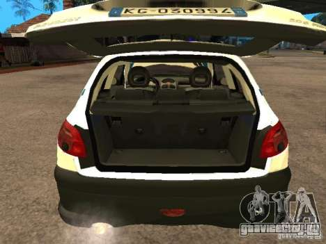 Peugeot 206 Police для GTA San Andreas вид сзади