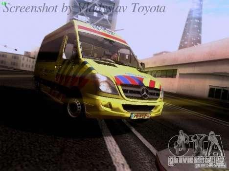 Mercedes-Benz Sprinter Ambulance для GTA San Andreas вид слева