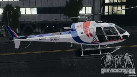 Eurocopter AS350 Ecureuil (Squirrel) Malaysia для GTA 4 вид сзади слева