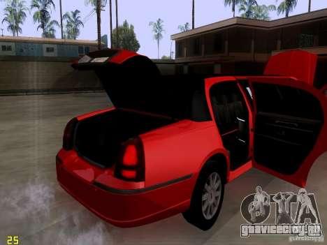Lincoln Towncar 2010 для GTA San Andreas вид изнутри