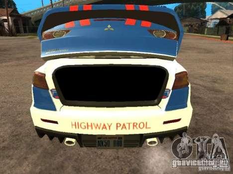 Mitsubishi Lancer X Police Indonesia для GTA San Andreas вид сзади