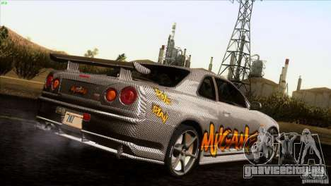 Nissan Skyline R34 Drift для GTA San Andreas вид изнутри