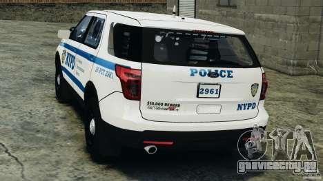 Ford Explorer NYPD ESU 2013 [ELS] для GTA 4 вид сзади слева