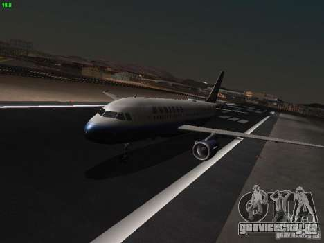 Airbus A319 United Airlines для GTA San Andreas вид слева