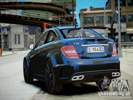 Mercedes-Benz C63 AMG Black Series 2012 v1.0 для GTA 4 вид сзади слева