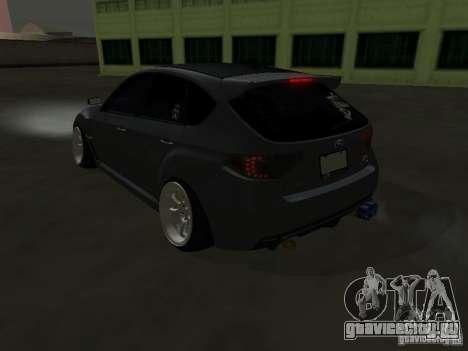 Subaru Impreza STI hellaflush для GTA San Andreas вид сзади слева