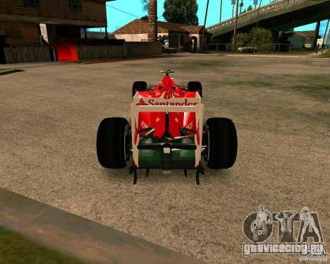 Ferrari Scuderia F2012 для GTA San Andreas вид сзади слева