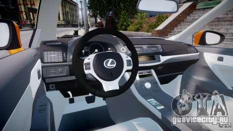 Lexus CT200h 2011 для GTA 4 вид справа