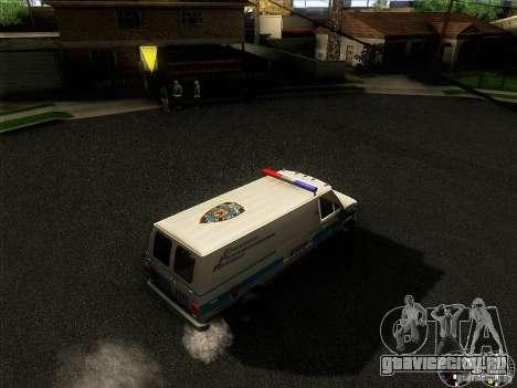 Chevrolet VAN G20 NYPD SWAT для GTA San Andreas вид изнутри
