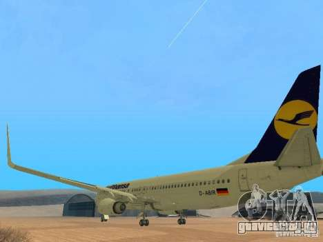Boeing 737-800 Lufthansa для GTA San Andreas вид сзади слева