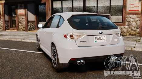 Subaru Impreza Cosworth STI CS400 2010 v1.2 для GTA 4 вид сзади слева