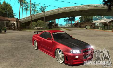 Nissan Skyline GTR-34 Carbon Tune для GTA San Andreas вид сзади