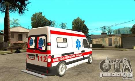 Renault Master Ambulance для GTA San Andreas вид справа