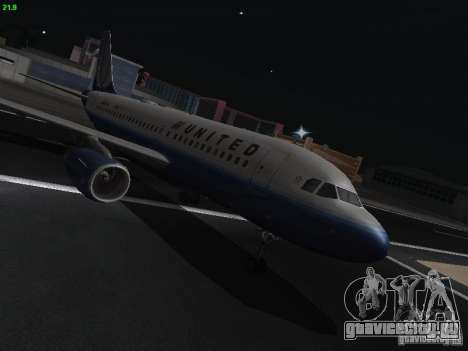 Airbus A319 United Airlines для GTA San Andreas вид сзади