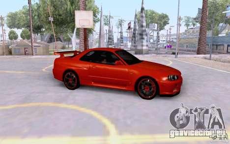 Nissan Skyline R34 GT-R для GTA San Andreas вид слева
