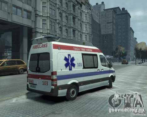 Mercedes-Benz Sprinter Azerbaijan Ambulance v0.1 для GTA 4 вид справа