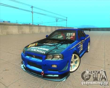 Nissan Skyline GT-R R34 M-Spec Nur для GTA San Andreas вид снизу